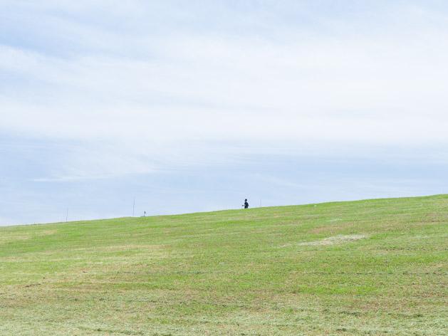 荒川の土手をジョギングする人
